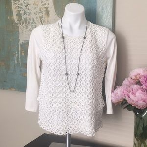 J.Crew ivory 3/4 sleeve top M